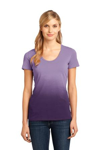 District Made™ - Ladies Dip Dye Rounded Deep V-Neck Tee.