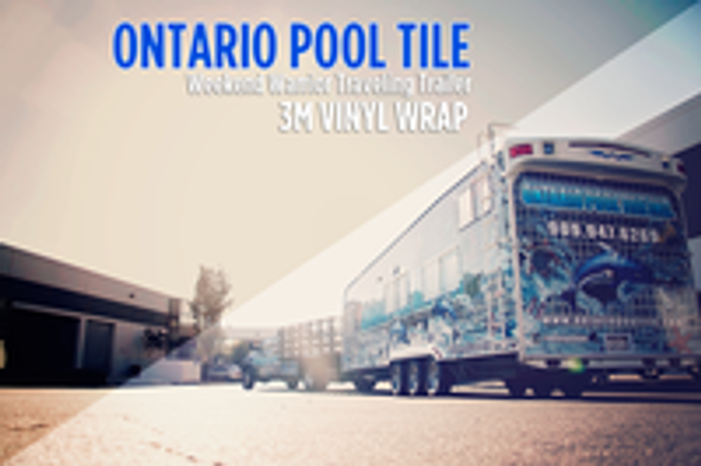 Weekend Warrior Traveling Trailer 3M Wrap for Ontario Pool Tile