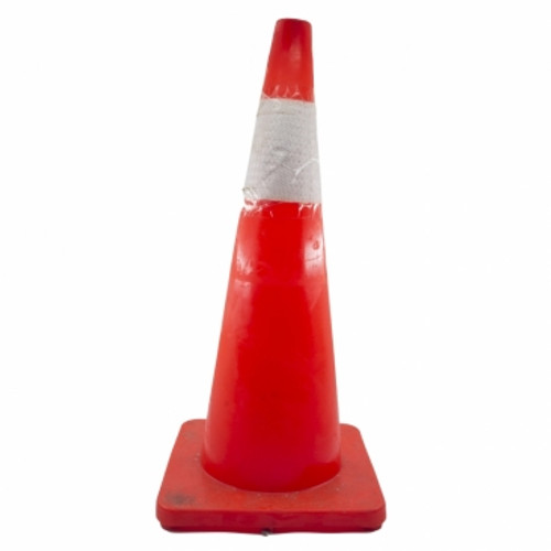 Soft PVC Traffic Cone with Silver Reflective Sleeve