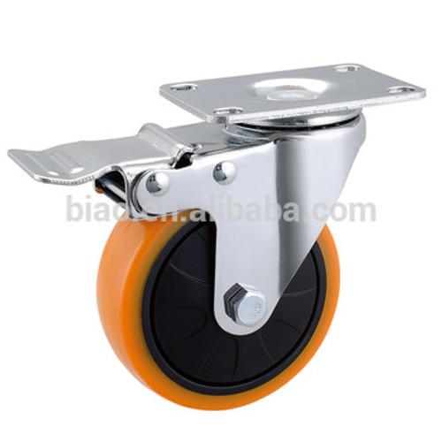 "Orange Swivel Caster Wheel C/w Brake 4"""