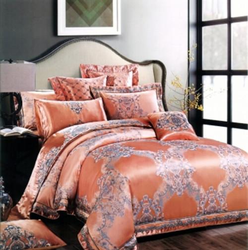 Hua Shi Fabric Art - Queen Quilt Cover Set (Orange) Bedsheet/Blank/Pillow