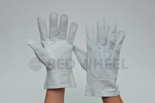 White Leather Gloves Size : 12