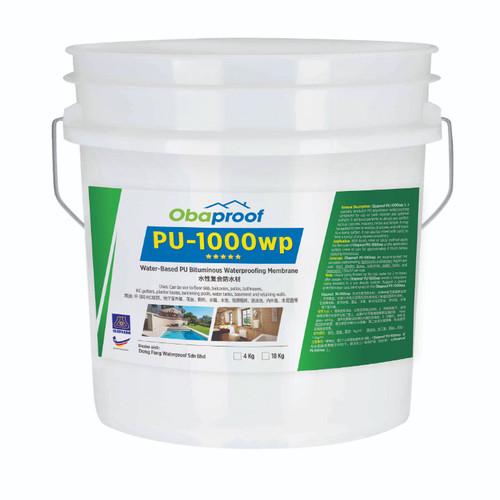 Obaproof PU-1000WP Water-Based PU Bituminous Waterproofing Membrane 18kg