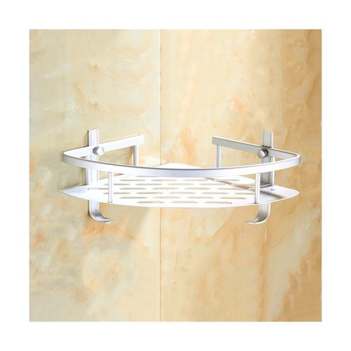 Aluminium corner shelf with hook 22cm x 22cm x5cm