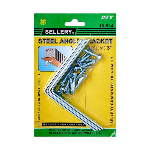 "Sellery 19-514 angle bracket 3"" C/W screws (4pcs/set)"