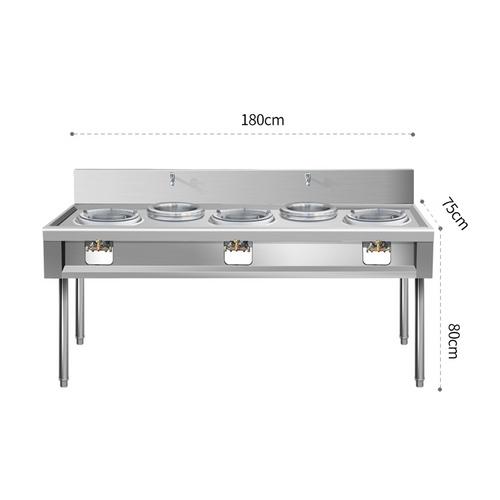 S/S three burner gas stove L180*W75*H80cm