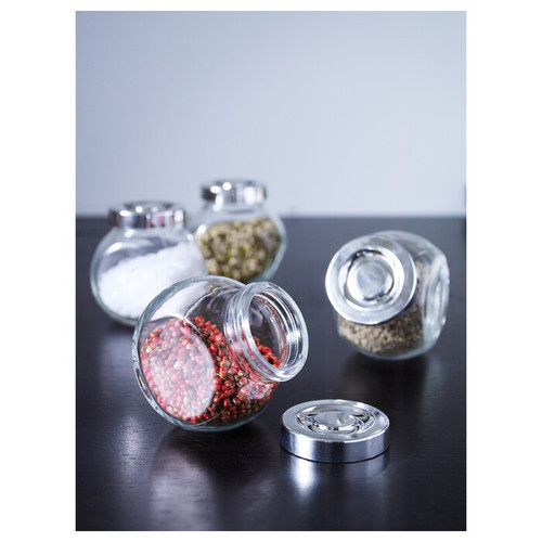 IKEA RAJTAN Spice jar, glass, aluminium-colour, 15 cl