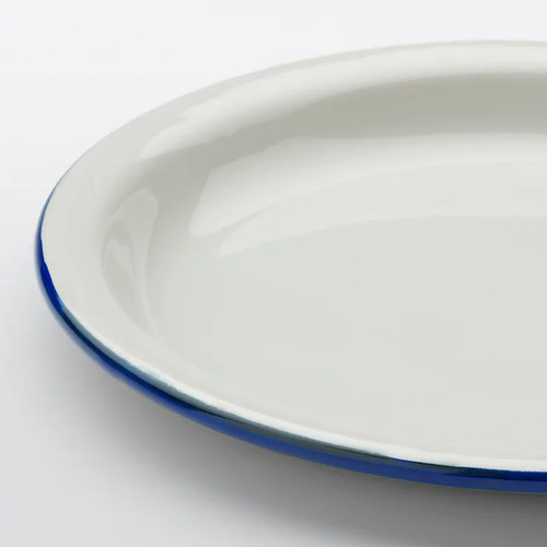 IKEA EGENDOM Plate, light grey, dark blue, 23 cm
