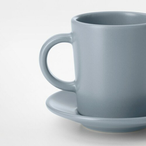 IKEA DINERA Espresso cup and saucer, grey-blue, 9 cl