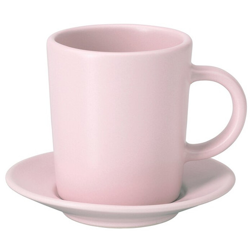 IKEA DINERA Espresso cup and saucer, light pink, 9 cl