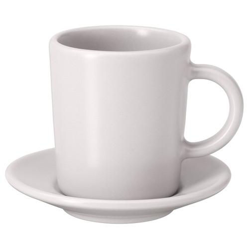 IKEA DINERA Espresso cup and saucer, beige, 9 cl