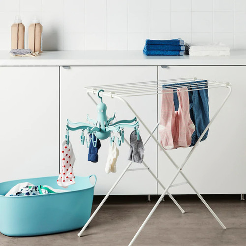 IKEA PRESSA Hanging dryer 16 clothes pegs, turquoise