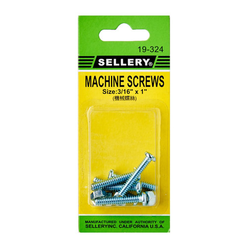 "Sellery 19-324 machine screws, 3/16"" x 1"" (6pc/set)"