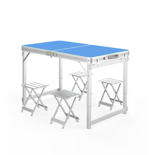 White Foldable Table With 4 Chair