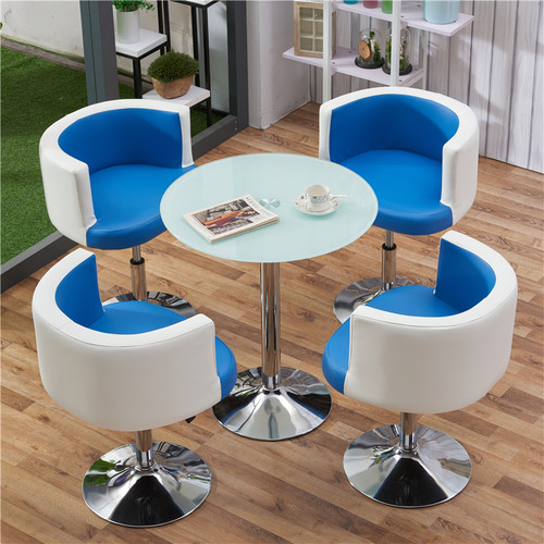 Round Glass Table & Chair Set (Blue)