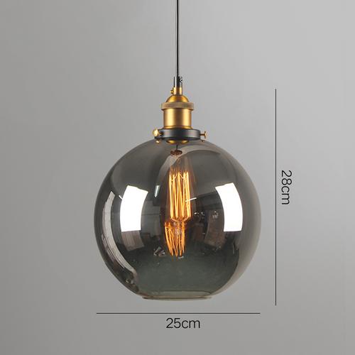 Glass ball pendant light 25cm grey