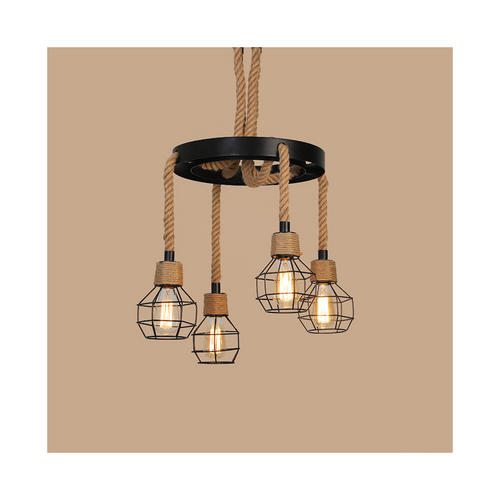 4-lights metal cage & hemp rope pendant light
