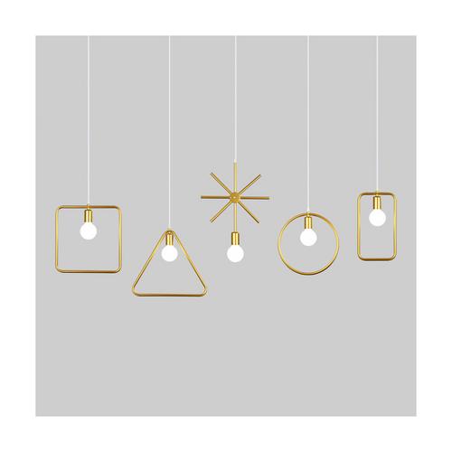 5pcs shapes pendant light gold