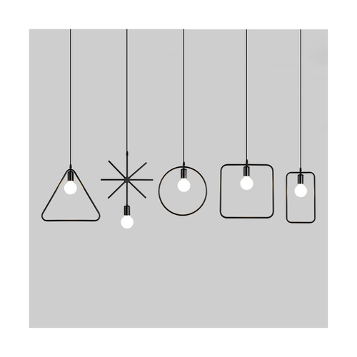 5pcs shapes pendant light black