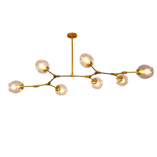 6 head branch pendant light gold