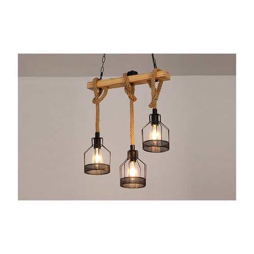 E27 retro hemp rope 3-lights pendant light