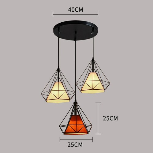 3-Lights Round Diamond Cluster Pendant Light 25cm Colors