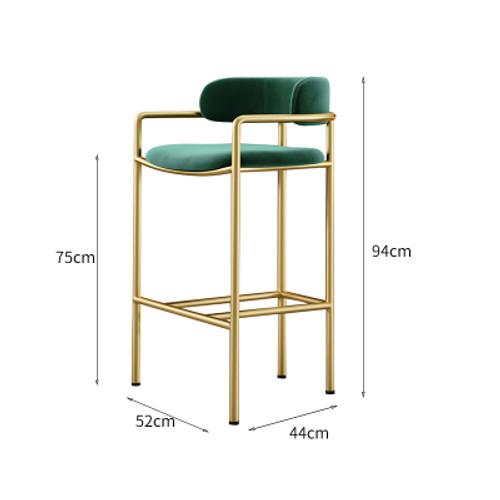 Nordic High Bar Chair 75Cm Green (Velvet)