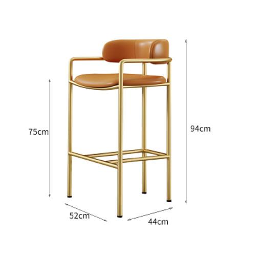 Nordic High Bar Chair 75Cm Orange (Leather)