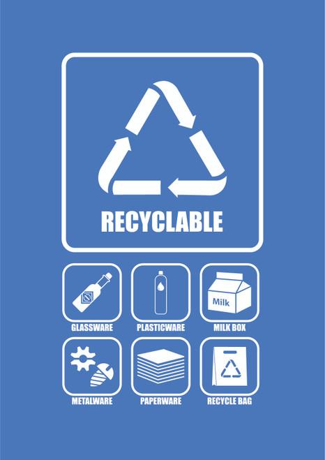 Penguin Hygienic Recycle Bin  240L  (Blue) - Recyclable