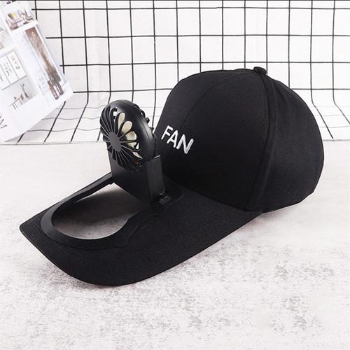 Flat peak cap with rechargeable fan black