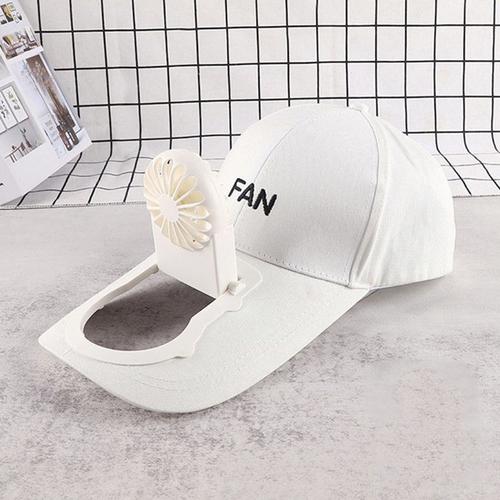 Flat peak cap with rechargeable fan white