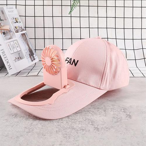 Flat peak cap with rechargeable fan pink