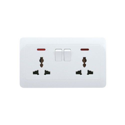 My Home Diy White 2 Gang Universal Switch Socket With Neon