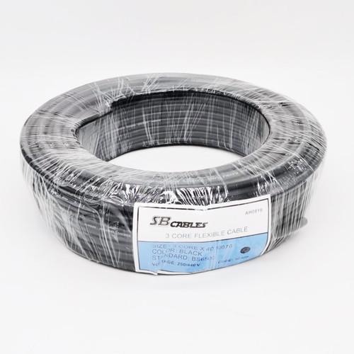 PVC Flex Cable 40/0076 3Core (Black) x 35m