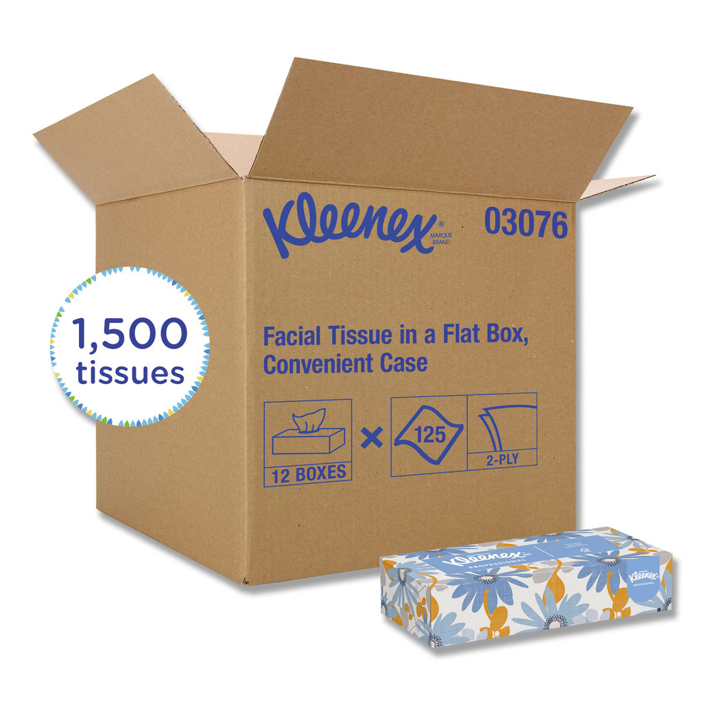Kimberly Clark Kleenex Facial Tissue, 125 tissues/box, 12 boxes/case   Harmony Lab and Safety Supplies