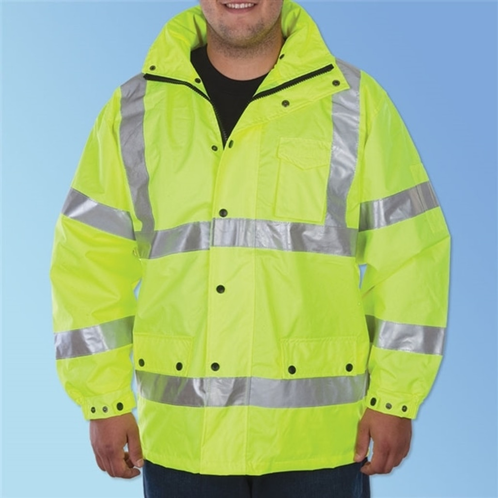 Get HivizGard ANSI Class 3 High Visibility Safety Windbreaker Work Jacket, Lime Green with Reflective Stripes LB16720G at Harmony