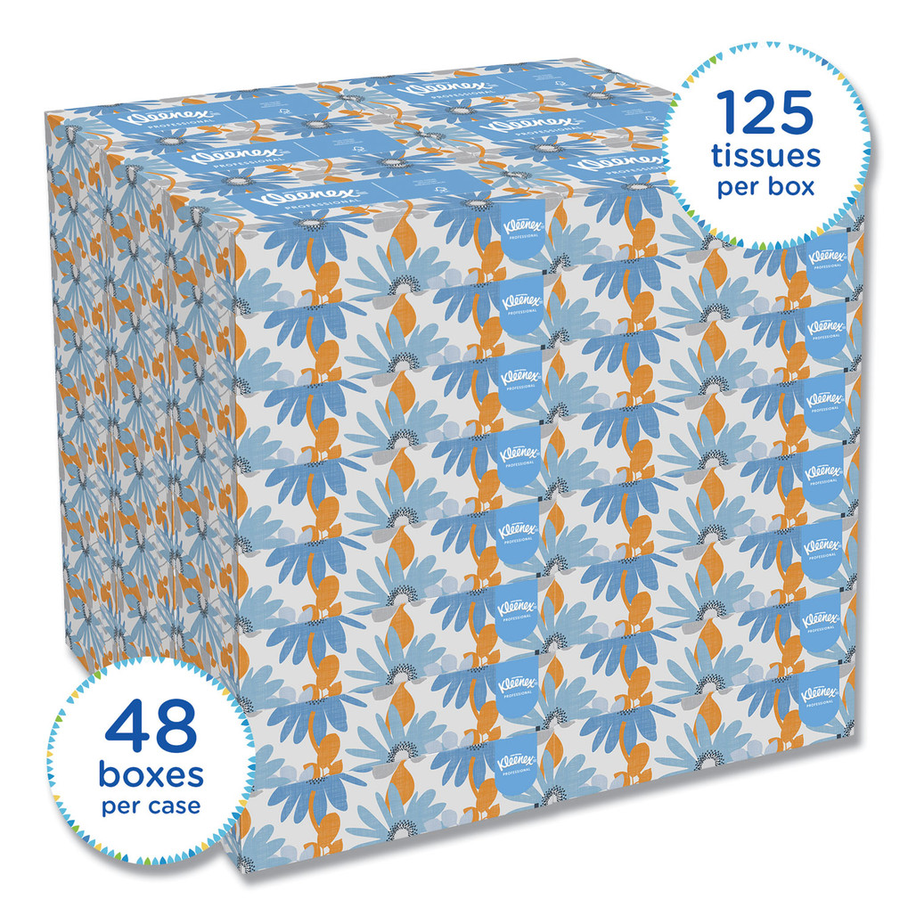 Kleenex 2 Ply Facial Tissue, 125/box, 48 boxes/case | Harmony Lab and Safety Supplies