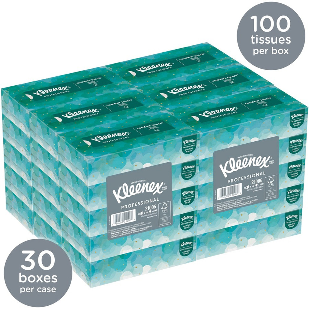 """Get Kleenex Facial Tissue, White 2-Ply, 8.4"""" x 8"""", 100/box, 30 boxes/case at Harmony Lab & Safety Supplies."""