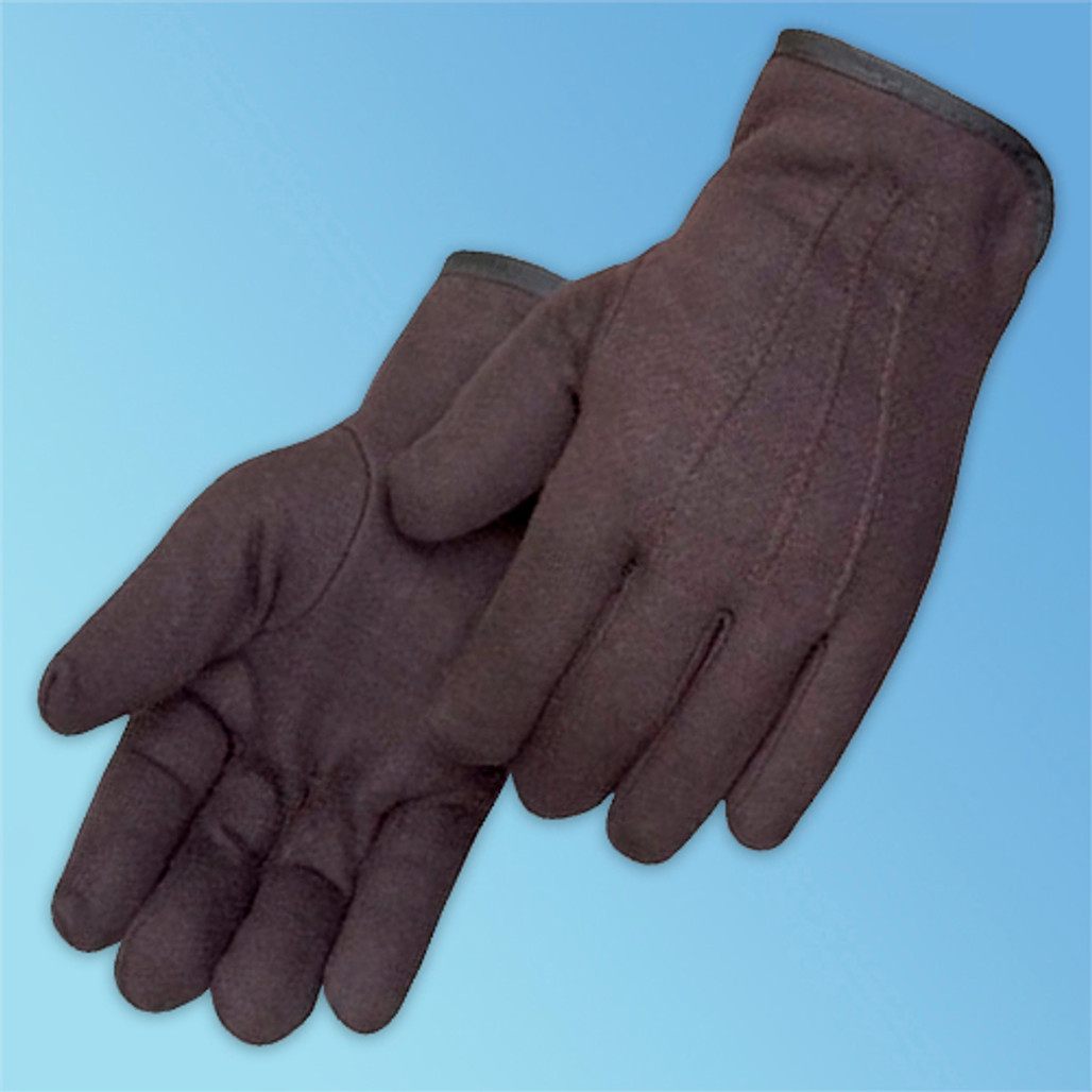 Brown Jersey Glove, Fleece Lined, Straight Thumb, LG, 12/pair