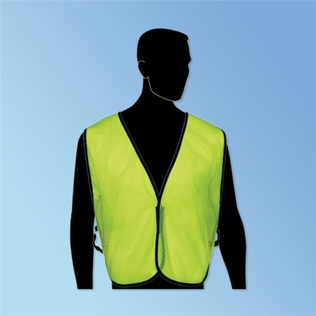 Get Fluorescent Lime Green Class 1 Safety Vest, Velcro Front Closure, ea LIBN16000G at Harmony