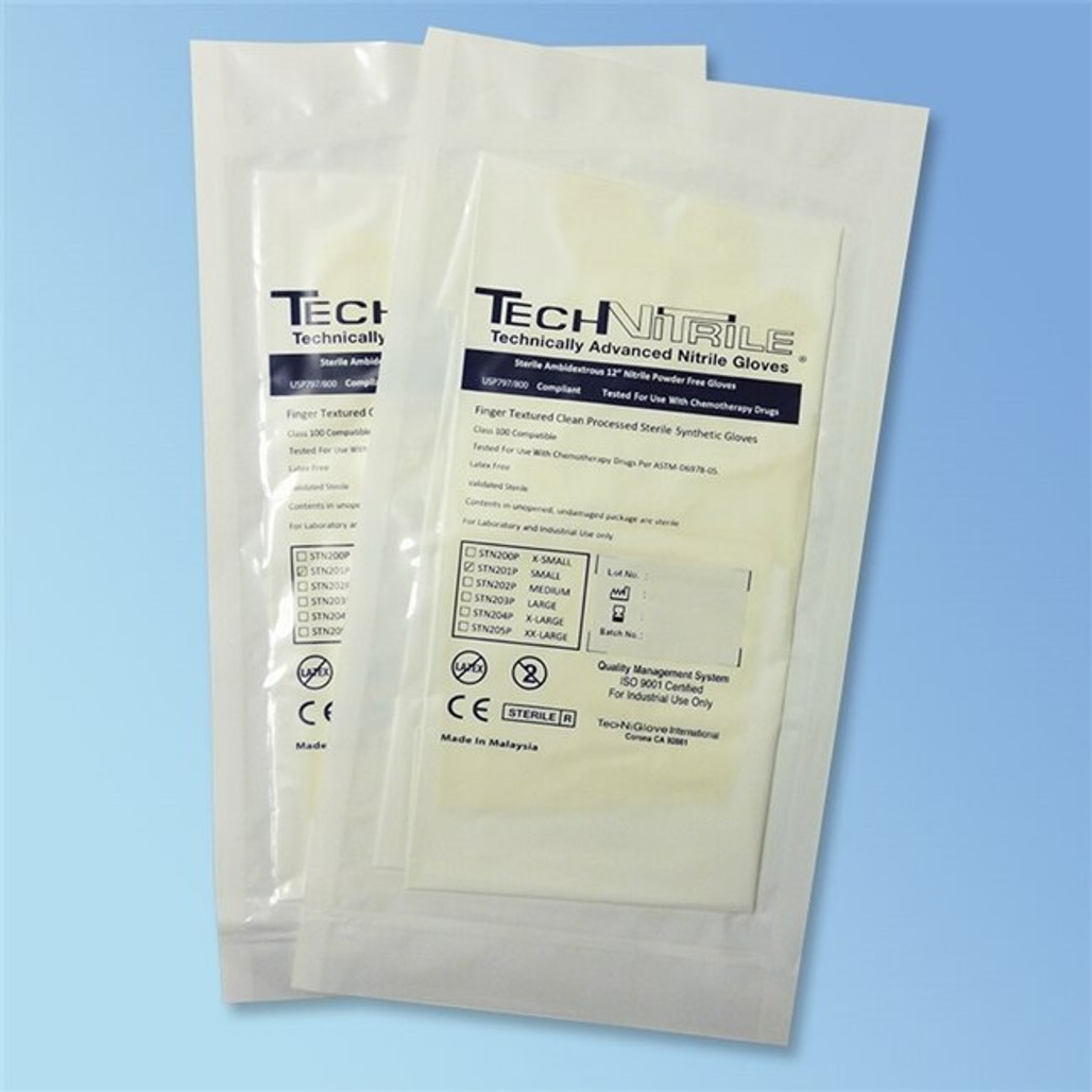 """TechniGlove 12"""" Sterile White Nitrile Cleanroom Gloves, Individually wrapped pairs, 5 mil thick and micro textured fingertips"""
