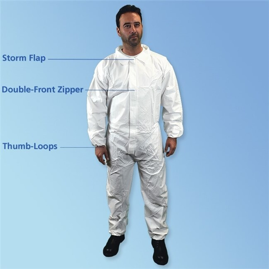 Get Keyguard ISO 5 White Microporous Coveralls, elastic wrist & ankle, 25/cs T180-CE at Harmony
