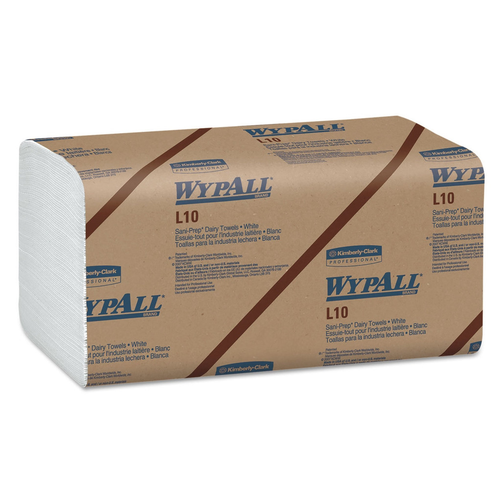 Wypall L10 Sani-Prep Dairy Towels, 9.3 x 10.5 in., 2400/case | Harmony Lab and Safety Supplies