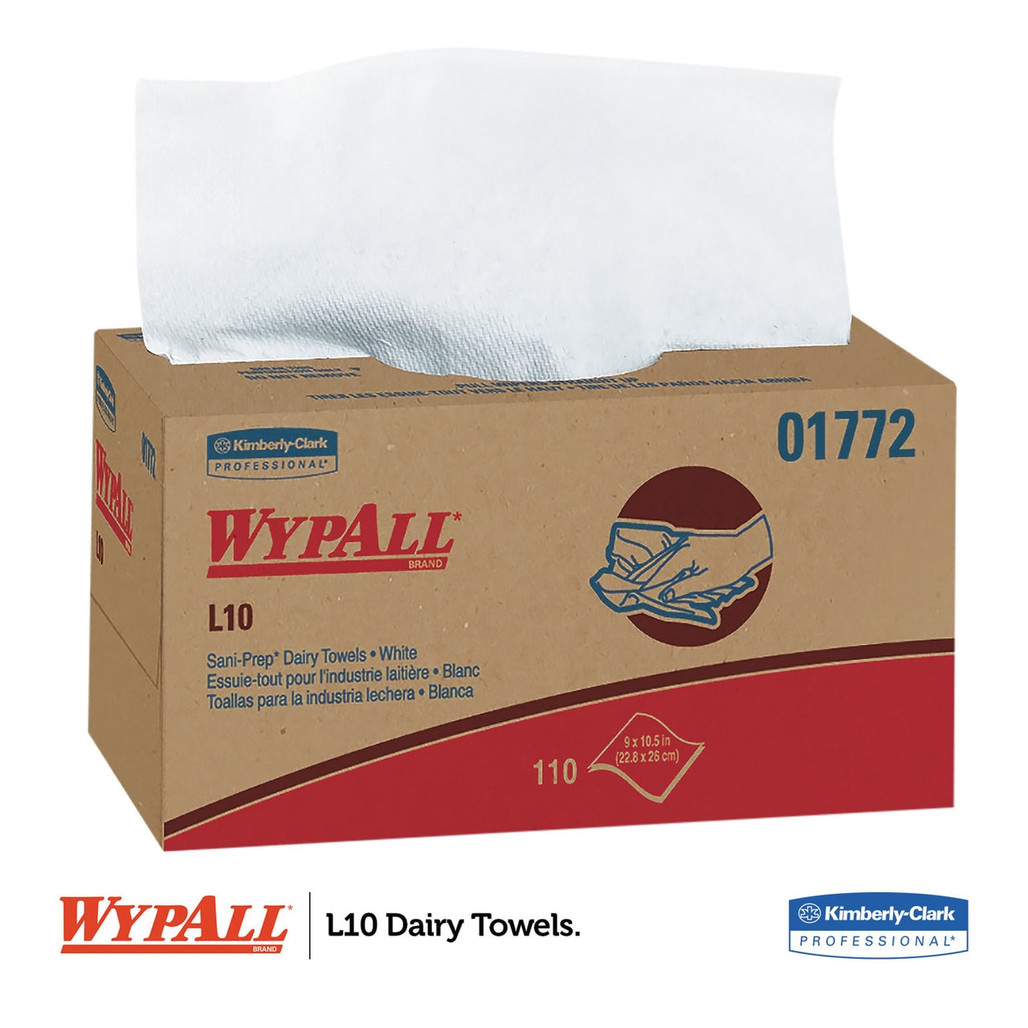 """Get Wypall L10 Sani-Prep Dairy Towels, 9"""" x 10.3"""",  1980/case L01772 at Harmony"""