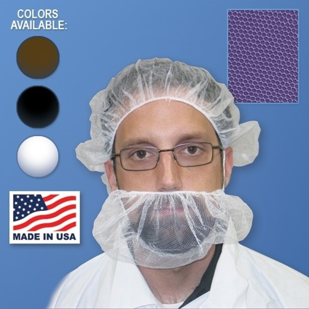 Made in USA Nylon Honeycomb Mesh Beard Nets in White, Black or Brown at Harmony