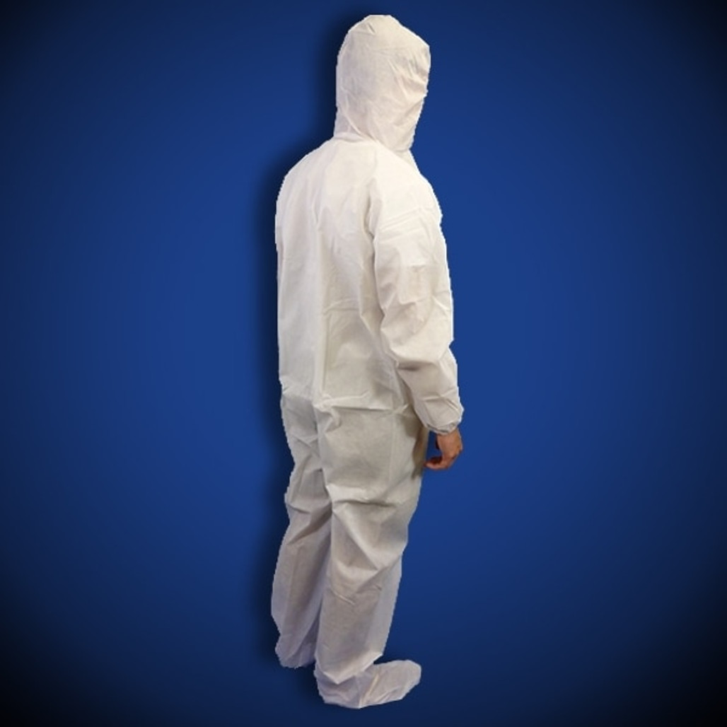 PureGuard White Polyethylene (PE) Coated Coveralls with Hood & Boot, 25/case   Harmony Lab and Safety Supplies