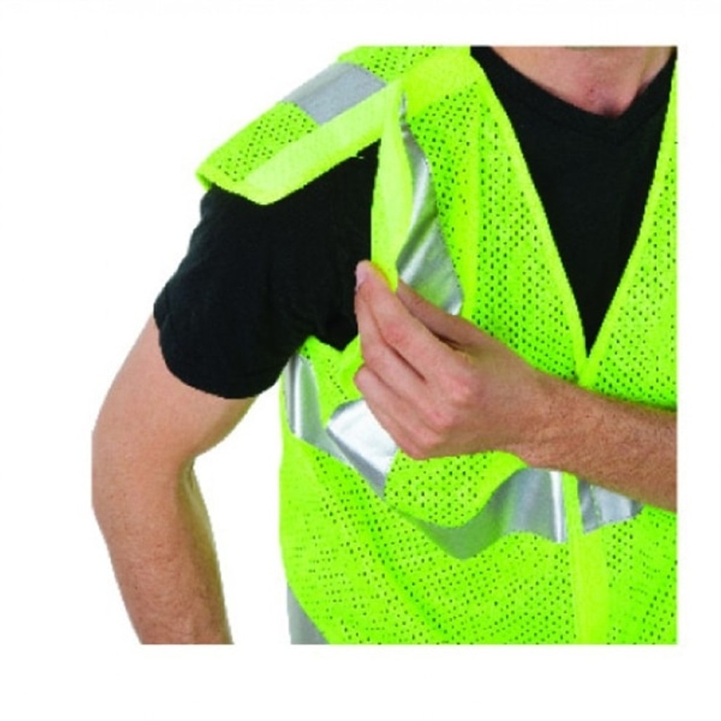 5 Point Breakaway Mesh Vest, Class 2, Lime Green   Harmony Lab and Safety Supplies