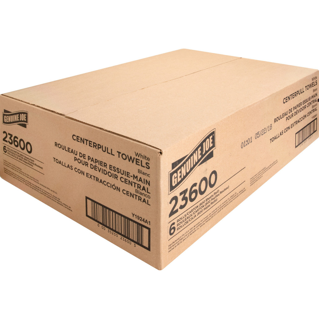 """Get Genuine Joe 2 Ply Center Pull Towels, 7.30"""" x 10"""", 600' roll, 6 rolls /case at Harmony Lab & Safety Supplies."""
