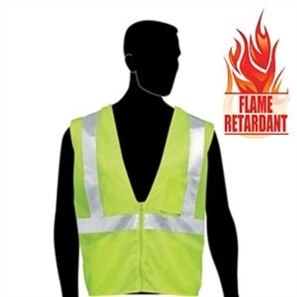 HivizGard Class 2 Fire Retardant Mesh Safety Vest, Lime Green, each | Harmony Lab and Safety Supplies