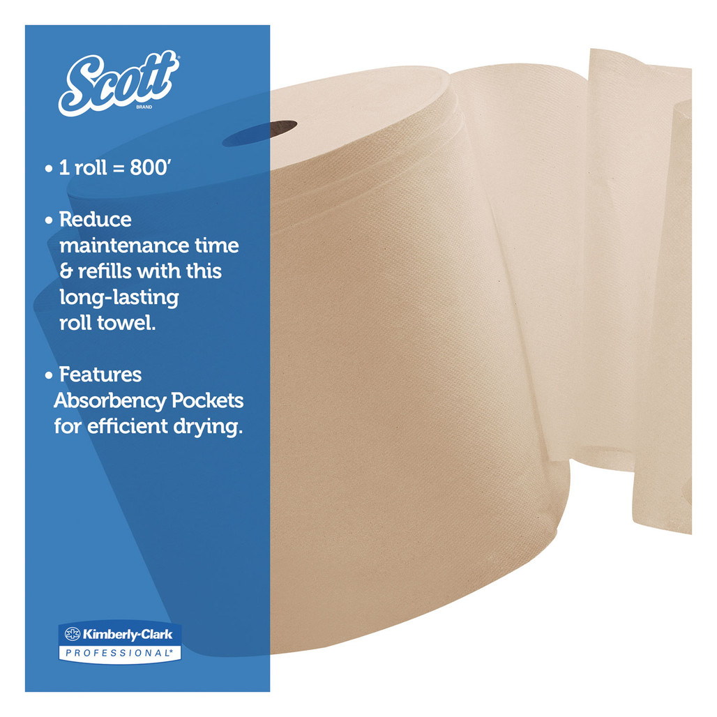 Scott Essential Hard Roll Towels, Kraft, 800 ft rolls, 12 rolls/case   Harmony Lab and Safety Supplies
